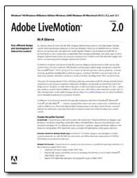 Adobe Livemotion 2. 0 : At a Glance by Adobe Systems