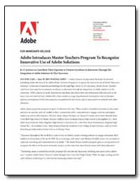 Adobe Introduces Master Teachers Program... by Adobe Systems
