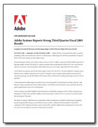 Adobe Systems Reports Strong Third Quart... by Adobe Systems