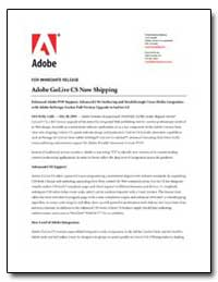 Adobe Golive Cs Now Shipping by Adobe Systems