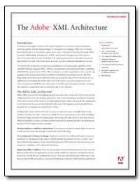 The Adobe Xml Architecture : Technology ... by Adobe Systems