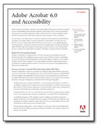 Adobe Acrobat 6. 0 and Accessibility by Adobe Systems