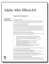 Adobe after Effects 6. 0 : Frequently As... by Adobe Systems