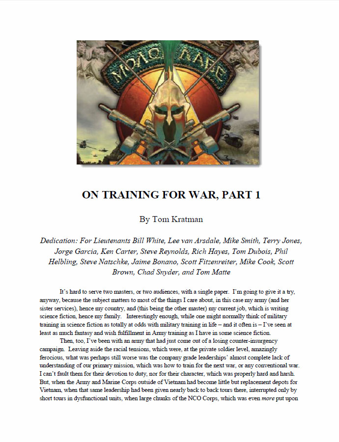 On Training for War by Kratman, Tom