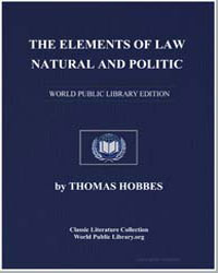 The Elements of Law Natural and Politic by Hobbes, Thomas