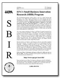Epa's Small Business Innovation Research... by Environmental Protection Agency