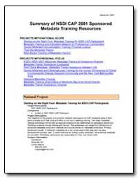 Summary of Nsdi Cap 2001 Sponsored Metad... by Environmental Protection Agency