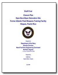 Draft Final Closure Plan Open Burn/Open ... by Environmental Protection Agency