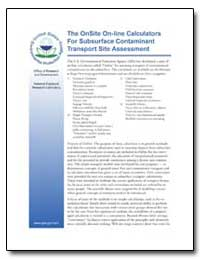 The Onsite On-Line Calculators for Subsu... by Environmental Protection Agency