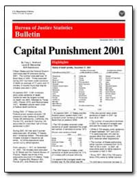 Capital Punishment 2001 by Snell, Tracy L.