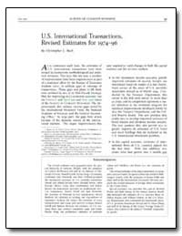 U.S. International Transactions, Revised... by Bach, Christopher L.