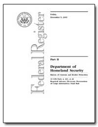 Part II Department of Homeland Security by Department of Commerce