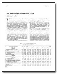 U.S. International Transactions, 2004 by Bach, Christopher L.
