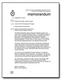 Audit of the Fdlp Inspections Program by Schaub, David B.