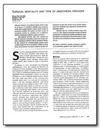 Surgical Mortality and Type of Anesthesi... by Pine, Michael