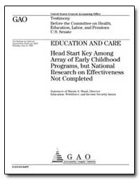 Education and Care Head Start Key Among ... by Shaul, Marnie S.