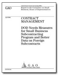 Contract Management Dod Needs Measures f... by General Accounting Office
