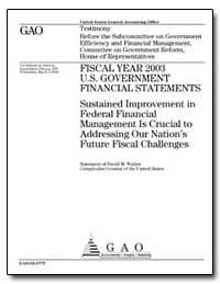 Sustained Improvement in Federal Financi... by Walker, David M.