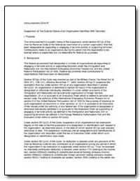 Announcement 2004-87 Suspension of Tax-E... by United States Department of the Treasury
