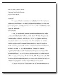 Part IV : Items of General Interest Cafe... by United States Department of the Treasury