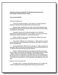 Extension of Announcement 99-5 for Ira R... by United States Department of the Treasury