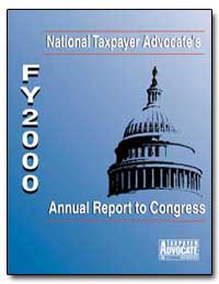 National Taxpayer Advoctes Fy 2000 Annua... by United States Department of the Treasury