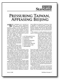 Pressuring Taiwan, Appeasing Beijing by Kristol, William