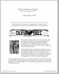 California Eagle, November 1938 Volume Issue : November 1938 by Bass, Charlotta, A.
