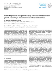 Estimating Neutral Nanoparticle Steady-s... by Tammet, H.