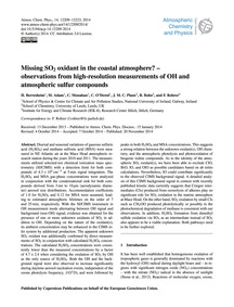 Missing So<Sub>2</Sub> Oxidant in the Co... by Berresheim, H.