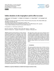 Iodine Chemistry in the Troposphere and ... by Saiz-lopez, A.