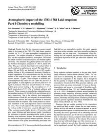 Atmospheric Impact of the 1783–1784 Laki... by Stevenson, D. S.