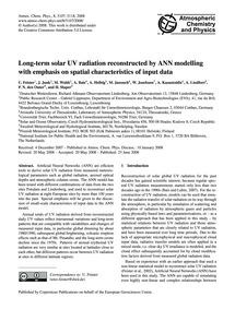 Long-term Solar Uv Radiation Reconstruct... by Feister, U.