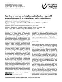 Reactions of Isoprene and Sulphoxy Radic... by Rudziński, K. J.