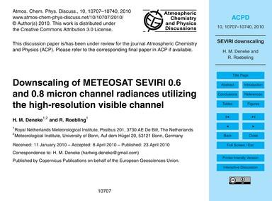 Downscaling of Meteosat Seviri 0.6 and 0... by Deneke, H. M.