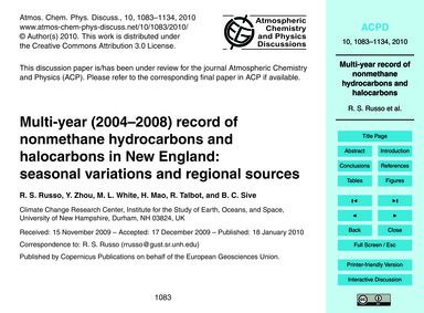 Multi-year (2004–2008) Record of Nonmeth... by Russo, R. S.