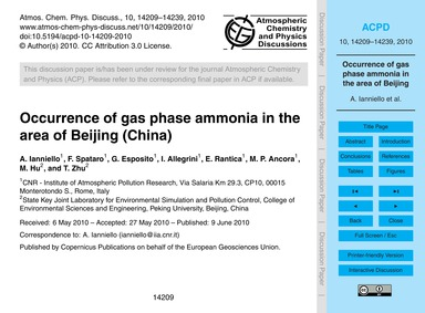 Occurrence of Gas Phase Ammonia in the A... by Ianniello, A.