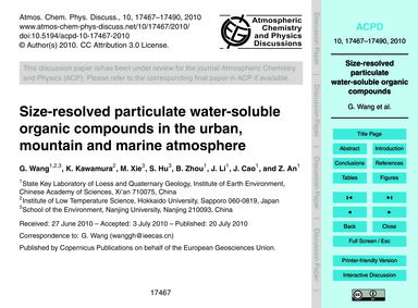 Size-resolved Particulate Water-soluble ... by Wang, G.