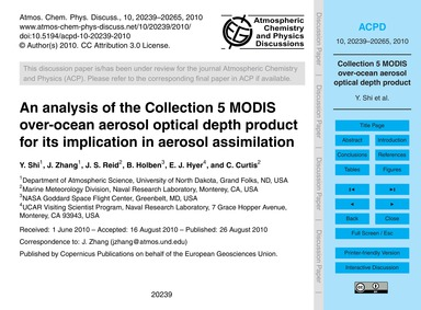 An Analysis of the Collection 5 Modis Ov... by Shi, Y.