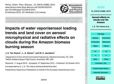 Impacts of Water Vapor/Aerosol Loading T... by Ten Hoeve, J. E.