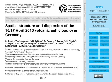 Spatial Structure and Dispersion of the ... by Emeis, S.