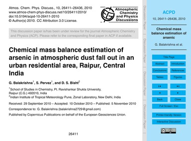 Chemical Mass Balance Estimation of Arse... by Balakrishna, G.
