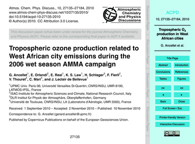 Tropospheric Ozone Production Related to... by Ancellet, G.
