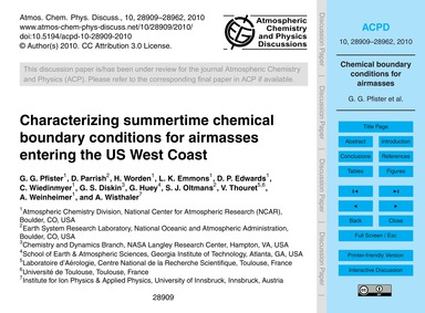 Characterizing Summertime Chemical Bound... by Pfister, G. G.