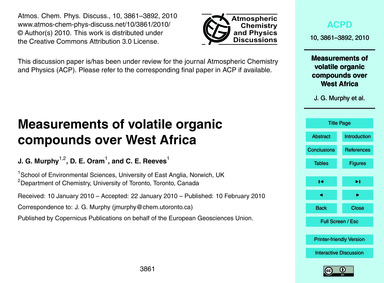 Measurements of Volatile Organic Compoun... by Murphy, J. G.