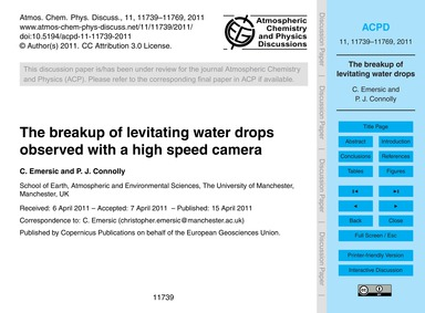 The Breakup of Levitating Water Drops Ob... by Emersic, C.