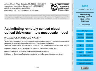 Assimilating Remotely Sensed Cloud Optic... by Lauwaet, D.