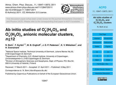 Ab Initio Studies of O2−(H2O)N and O3−(H... by Bork, N.