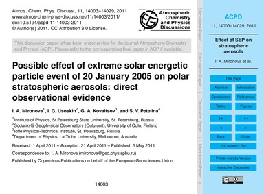 Possible Effect of Extreme Solar Energet... by Mironova, I. A.