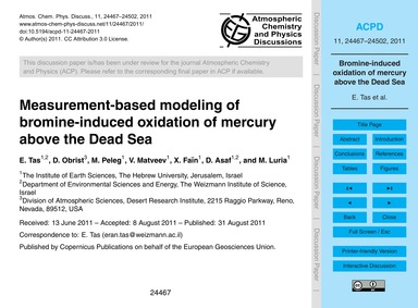 Measurement-based Modeling of Bromine-in... by Tas, E.